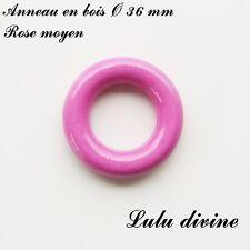 Anneau en bois de 36 mm (XS) sans trou, pour hochet bébé : Rose moyen