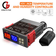 Ac110 220v 10a Dual Led Temperatureamp Humidity Control Thermostat Probe Stc 3028