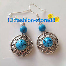 Retro Style Handmade Tibetan Silver Blue Turquoise Beads Earrings