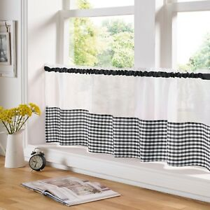 Gingham Check Black & White Cafe Voile Curtain Panel✔ Fast Despatch✔ UK Seller✔