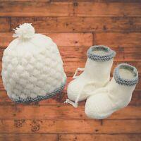 Handmade crochet hat and booties- Baby shoes beanie Cap - boy Girl Newborn Gift