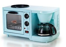 Retro Toaster Oven Coffee Maker Breakfast Griddle Toast Blue Kitchen Appliance