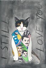 ACEO Freddie Mercury's cat in a Freddie Vest from Original Watercolor painting