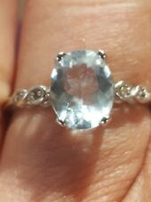 Aquamarine Oval Cut And Diamond Ring 10kt Solid White Gold