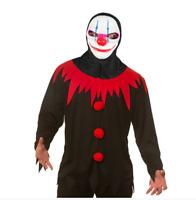 NEW Killer Clown Shirt & Mask Adult Scary Mens Fancy Dress Halloween Costume