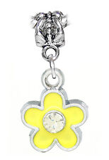 Yellow Enamel Flower Clear Rhinestone Dangle Charm for European Bead Bracelets