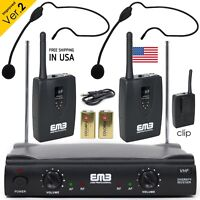 Professional Wireless Microphone System Dual Headset 2 x Mic Cordless Receiver