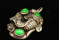 Collect Old China Exquisite Tibetan silver carved fish inlay green jade Pendant