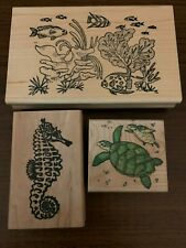 Under the Sea Tropical Fish, Sea Horse, and Sea Turtles Rubber Stamp Set Euc