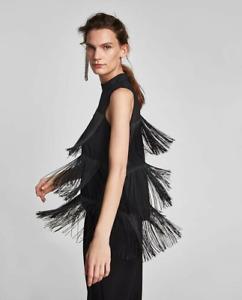 Zara Fringe Tassel Top - NEW Size M 12 - Black Sleeveless Sheer Blouse Tiered