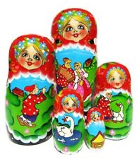 Summer Fun 5 Piece Russian Ethnic Hand Painted Wood Stacking Toy Matryoshka Doll