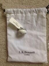 L K Bennett White Pave Enamel Silver  Crystal Ring, RRP £75