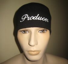 PRODUCER Black Embroidered Acrylic Knit Beanie Skull Cap Hat Cuffless
