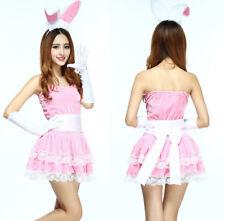 Costume Abito Completo Coniglietta Rabbit Bunny Bunnies Party Sexy Rosa Vestito