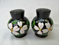 Redware salt and pepper Shakers hand painted round roly poly pink flowers black