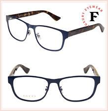 2a2ef3ca10 Gucci 0007 Havana anteojos ópticos de metal cuadrado azul GG0007O 55mm  auténticos
