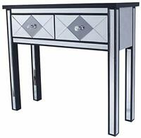HomeRoots Decor 22-inch Black Mirrored Console Table with 2 Drawers