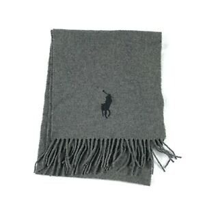 Polo Ralph Lauren Mens Wool Fringe Scarf Pony Logo Size OS Gray Made In Italy