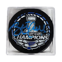 Brett Hull Autographed 2019 St. Louis Blues Stanley Cup Champions Puck Blue Sign