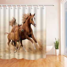 Animal Brown Horse Decor Bathroom Shower Curtain Fabric w/12 Hooks 71""