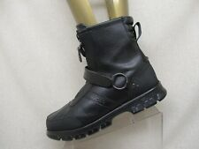 POLO by Ralph Lauren Black Leather Strap Zip Harness Ankle Work Boots Mens Sz 12