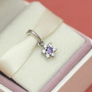Genuine PANDORA FORGET ME NOT Sterling Silver & CZ Dangle Charm 791833 S925 ALE