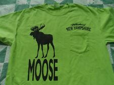Men's  Large Neon Green T-Shirt with  A Moose Silhouette & Wicked New Hampshire