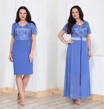 Abendkleid Big Size2 Teille Gr.48,50,52.Farbe Blau
