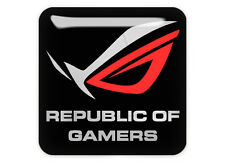 "Asus Republic of Gamers ROG Black 1""x1"" Chrome Domed Case Badge / Sticker Logo"