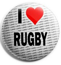 """I Love Rugby Pin Badge 3"""" 75mm  - Gift - Birthday - Stocking Filler"""