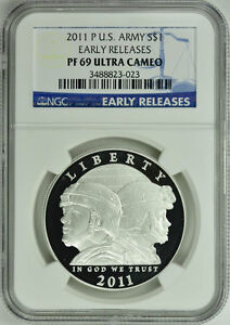 2011-P U.S. ARMY SILVER $1 EARLY RELEASES NGC PF69 ULTRA CAMEO