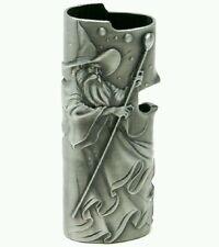 Pewter Metal Bic Lighter Case With Wizard Mage Design