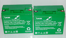 2 x LUCAS 12V 22ah (Can also Replace 18ah & 20ah) MOBILITY SCOOTER BATTERIES