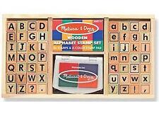 *NEW* Mel Melissa & Doug Wooden Alphabet Classroom Stamps Stamper Set