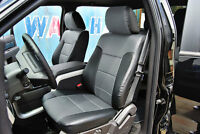 FORD F-150 2009-2014 BLACK/GREY IGGEE S.LEATHER CUSTOM FIT FRONT SEAT COVER