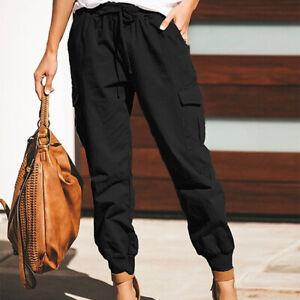 Women's Combat Cargo Trousers High Waist Joggers Casual Long Pants Casual Bottom