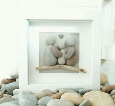"Personalised Family Pebble Art Picture.Unique New Baby/Housewarming Gift.6""x6"""