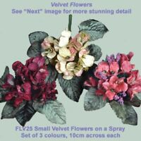 Millinery 10cm Velvet Small Flower Spray with foliage set of 3