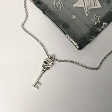 Skeleton Key Charm Necklace Silver Plated 24 inch chain halloween jewellery gift