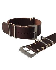 20mm Brown Leather NATO ® Luxury Watch Strap Band Handmade In Italy