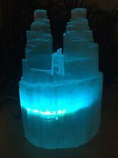 "8"" Selenite Lamp Color LED Selenite Tower Selenite Two Point Lamp Crystal Reiki."