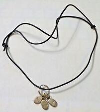 Vintage Adjustable Length Imagine, Trust, Laugh Silver Tone &Black Cord Necklace