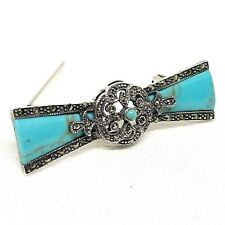w/ Marcasite Stones .925 Sterling Silver Turquoise Bow Pin Ornate Vintage Brooch
