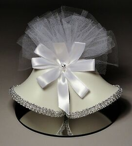 Rhinestone and Satin Bells Wedding Cake Topper (953) HANDCRAFTED IN THE USA
