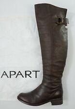 APART flache Overknee Stiefel 37 Glattleder dunkelbraun Schuhe Biker Pirate-Boot
