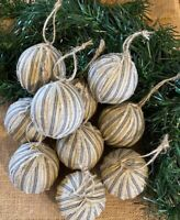 10 Grungy Coffee Stained Muslin Snowballs Fabric RAG BALLS Christmas Ornaments