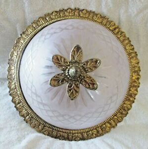Antique Ornate Brass Floral Finial Frosted Etched Glass Dome Flush Ceiling Light