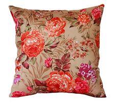 "Brown Multi Colour Floral Print 100% Twill Cotton 20"" X 20"" Cushion Cover Pillow"