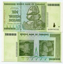 Zimbabwe 10 Trillion Dollars 2008 UNC Banknotes AA Part of $100 Trillion series