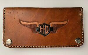 Harley Davidson Brown Leather Wallet Bifold Measures 3 x 8 Card Checkbook Holder